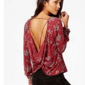 Free People Elsa Open Back Jersey Blouse